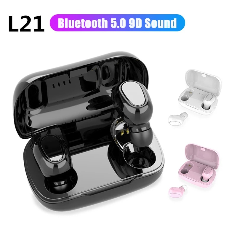 L21 TWS Wireless Earphones Bluetooth 5.0 Headphones Mini Stereo Earbuds Sport Headset Bass Sound Built-in Microphone for Running Workout Gym Black
