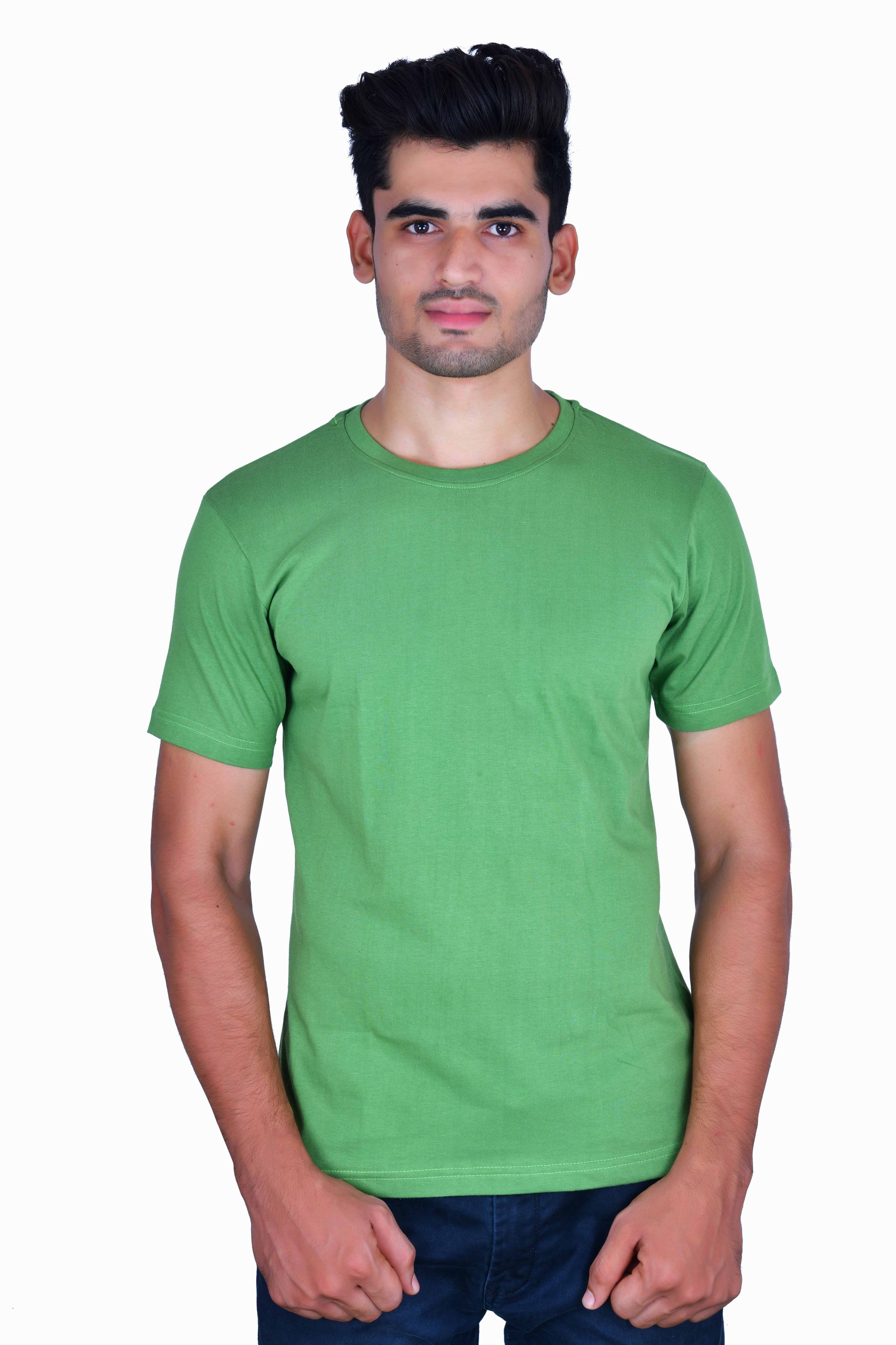 TBB The Blue Beast Roundneck Solid Cotton T-Shirt Green