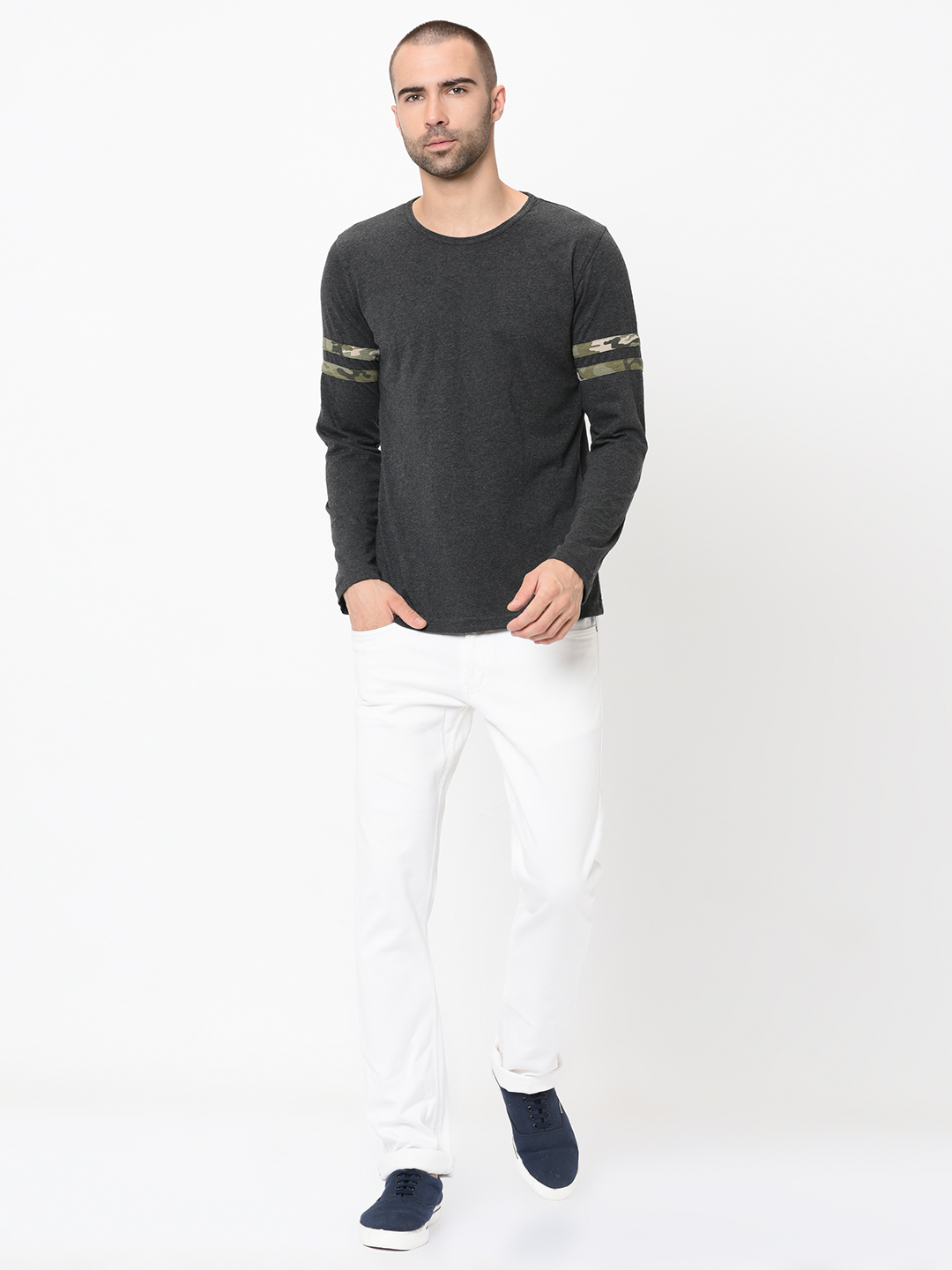 Rigo Men'S Charcoal Camouflage Stripe Detail On Full Sleeves Round Neck Single Jersey Cotton Slim Fit Casual Tshirt