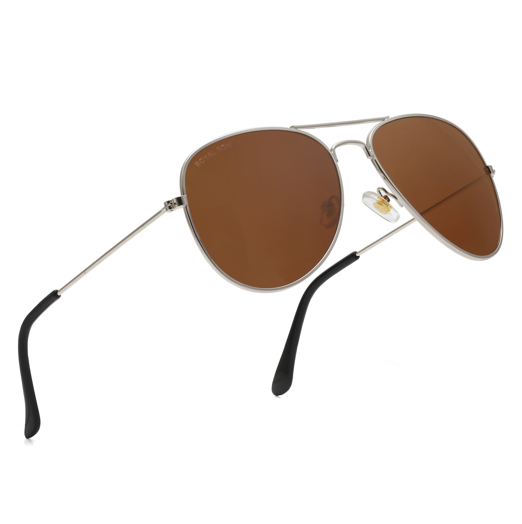 Royal Son UV Protected Aviator Unisex Sunglasses - Brown