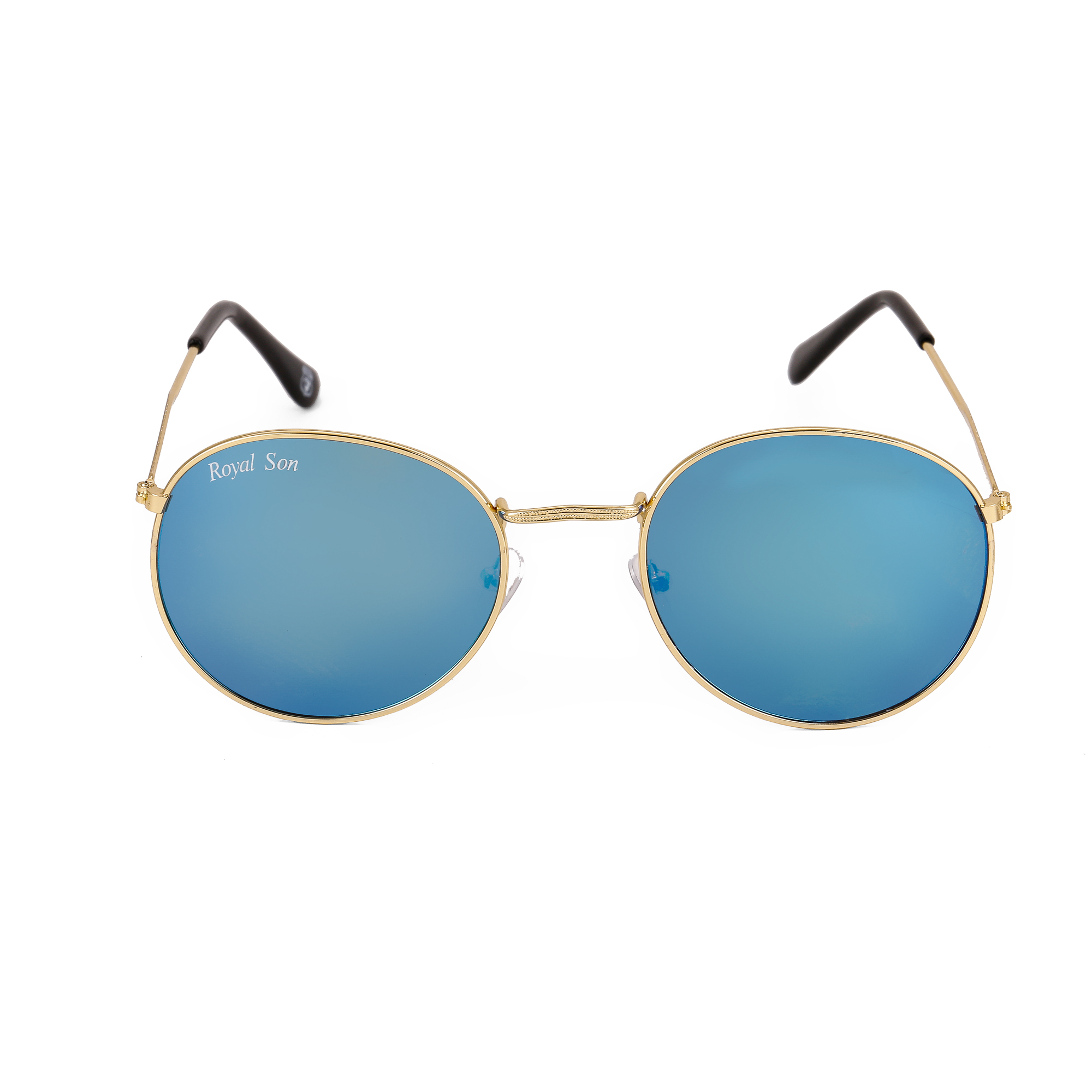 Royal Son Gold Metal Round Frames Sunglasses For Men