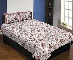 Pure Cotton 240 TC Single bedsheet in reddish floral pattern By Jaipur Fabric