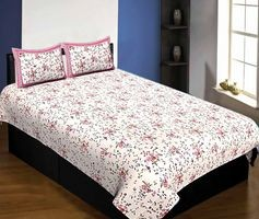 Pure Cotton 240 TC Single bedsheet in pink seamless floral print By Jaipur Fabric