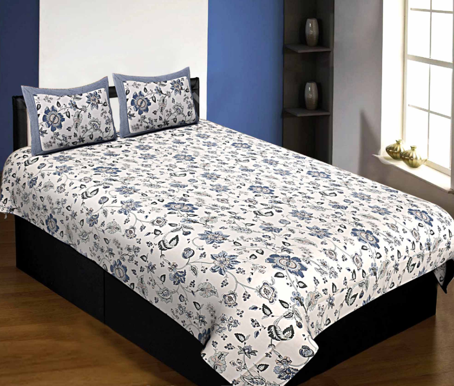 Pure Cotton 240 TC Single Bedsheet in blueish floral pattern taxable By Jaipur Fabric