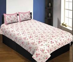 Pure Cotton 240 TC Single Bedsheet in cream seamless floral print taxable By Jaipur Fabric