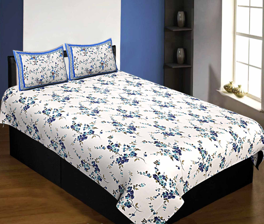 Pure Cotton 240 TC Single Bedsheet in blue motif floral print taxable By Jaipur Fabric