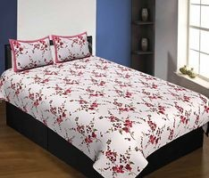 Pure Cotton 240 TC Single Bedsheet in Red motif floral print taxable By Jaipur Fabric