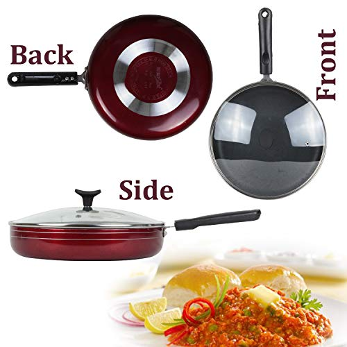 EURO SLEEK 2 litres Fry Pan Non Stick with Glass Lid Regular Gas Compatible,Maroon (Size 25 cm/250mm/10 Inches) (Size No. 13) (2.6 mm Thickness with induction base)