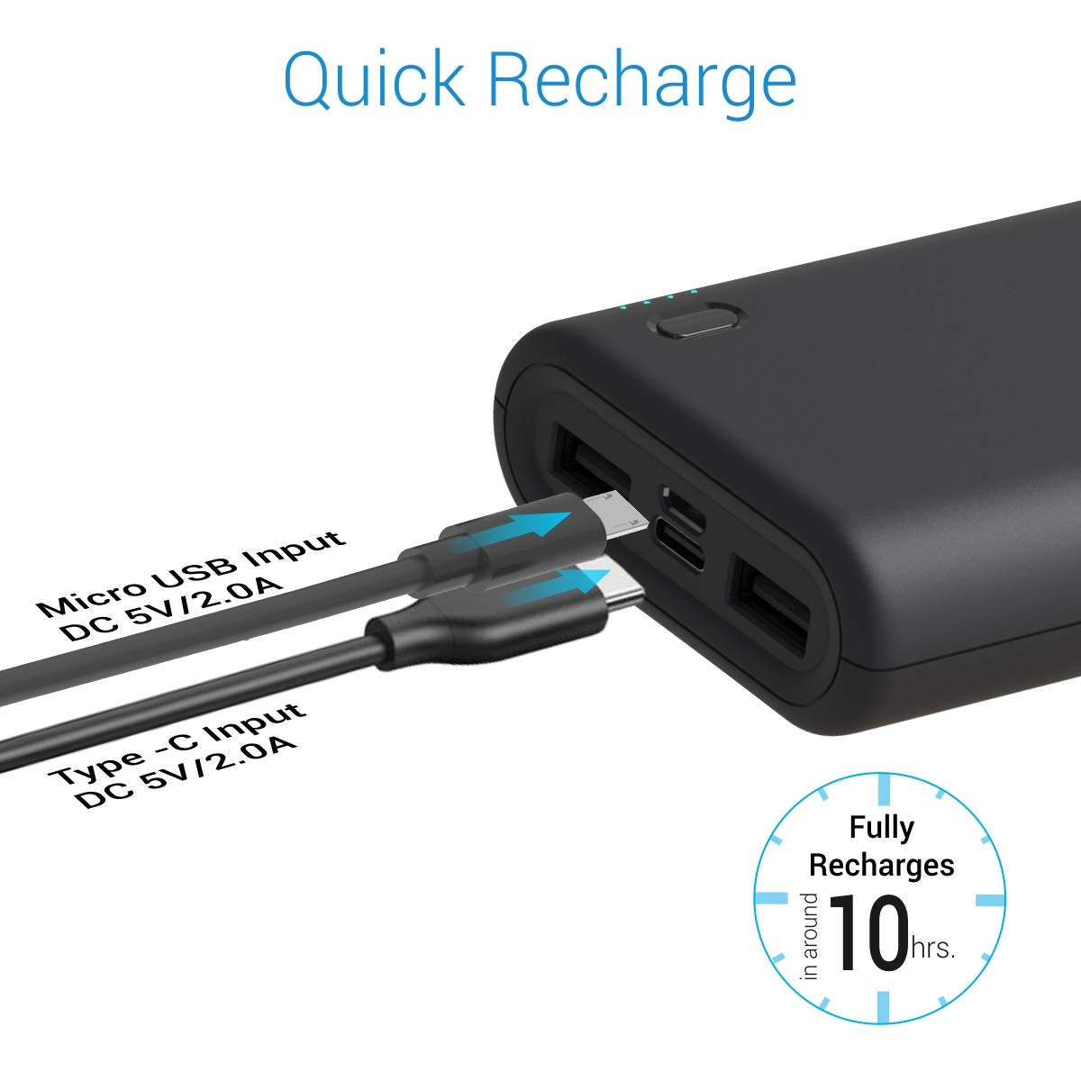 Portronics Indo 20X POR-1017 20000mAh Power Bank with LED Indicator, 2.0A Dual Input (Type C + Micro USB) and Dual USB Output (2.1A + 1.0A) for All Android and iOS Devices (Black)