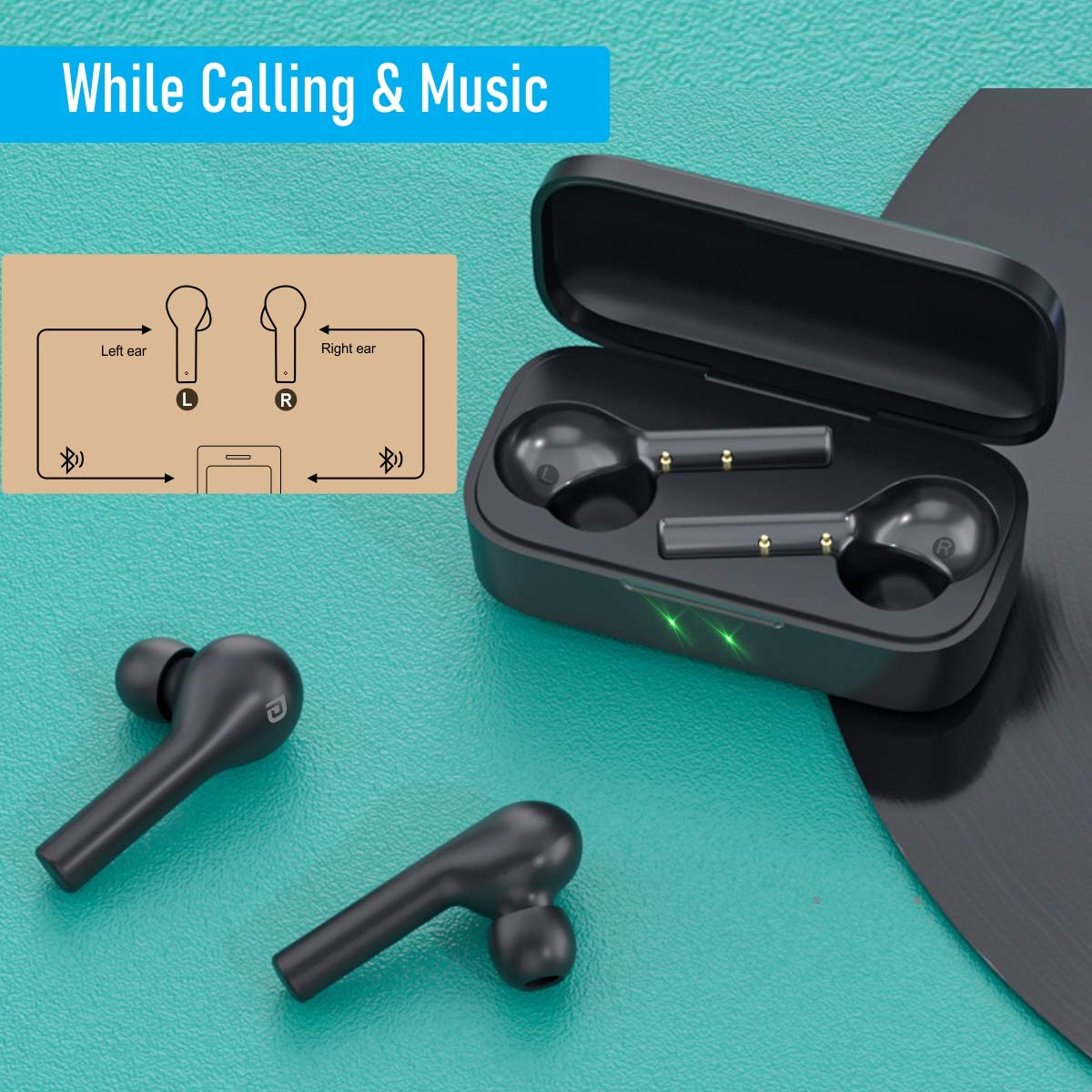 Portronics Harmonics Twins II POR-1050 a Small Sized HD True Wireless Stereo Earbuds with Extra Bass, LED Indicator, Bluetooth 5.0, One Touch Control, Noise Reduction, Support Game Mode, Black