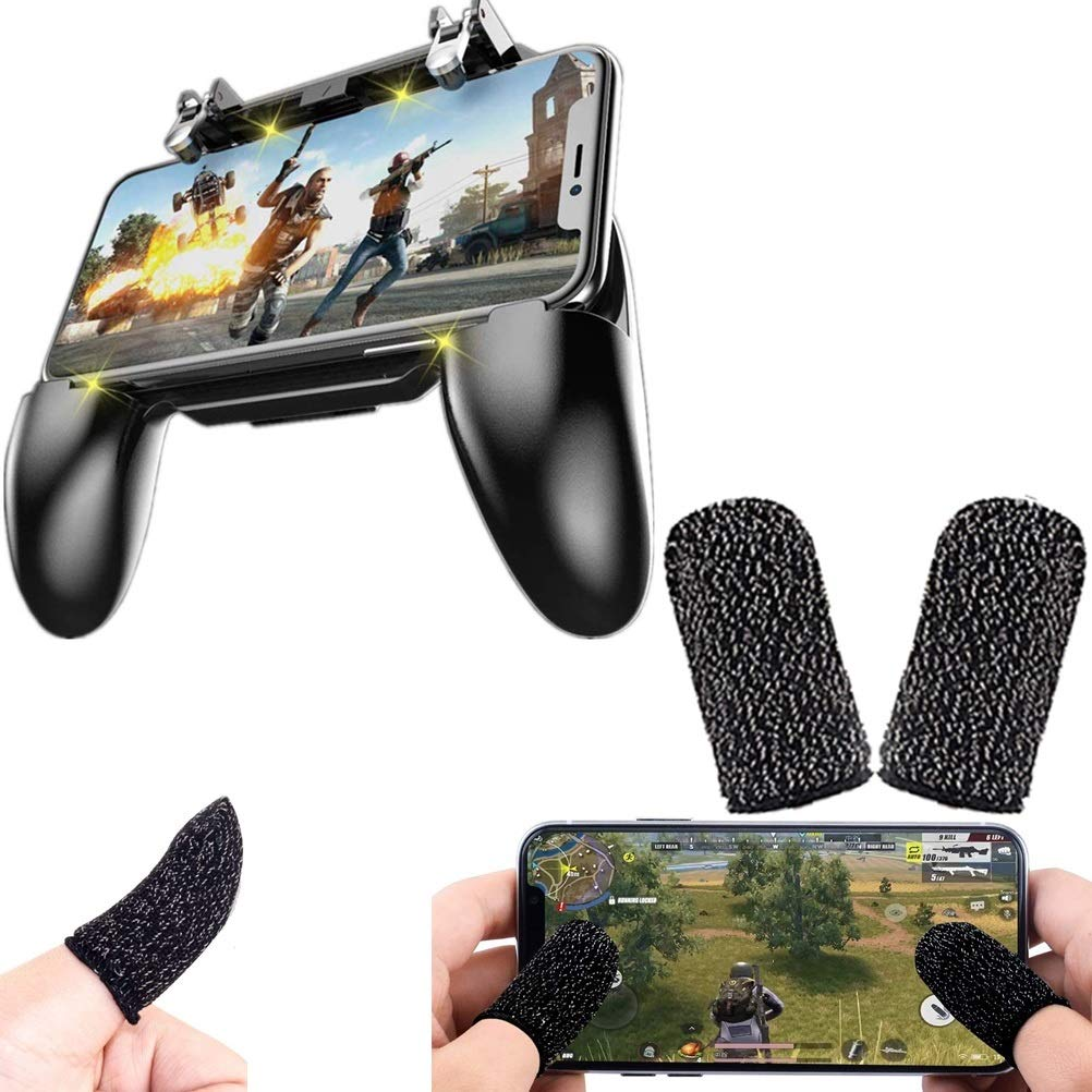 10 2 in 1 Game Controller and Mobile Gamepad Holder Handle Joystick with Free Gaming Finger Sleeve Touchscreen Finger Gloves Anti-Sweat Touch and Sensitive