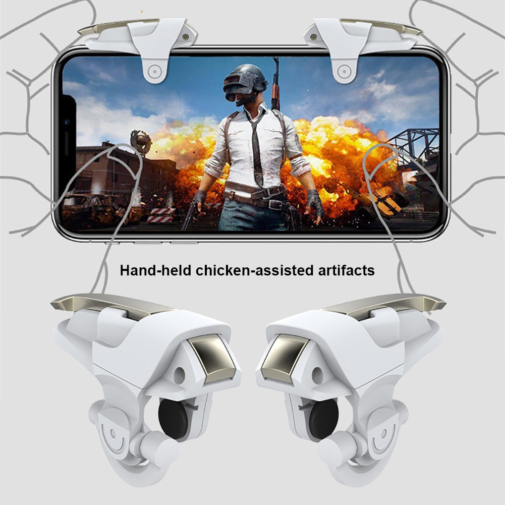 PUBG Angel Wings Trigger Mobile Gaming Controller Button triggers for Phone (White)