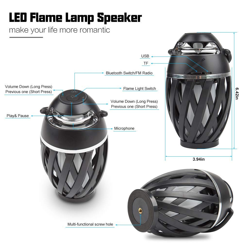 Led Flame Outdoor Portable Bluetooth Speaker, Hd Stereo Audio And Enhanced Bass, Desk Lamp, Long Playtime, Ip65-Waterproof (Black, 5W)