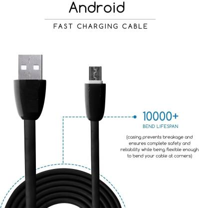 Silco Micro 2.4A Quick Charge Usb Round Charging Cable / Fast Charging / Data Transfer / Easy to Plug In Flexible outdoor 1.3 m Micro USB Cable (Compatible with Xiomi Mi, Samsung Galaxy, Sony, Micromax, Oppo, Black, One Cable)