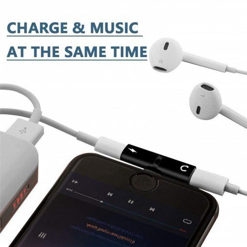 iPhone Adapter Splitter, 2 in 1 Dual Lightning Audio & Charge Adapter for iPhone11 11Pro X Xr X MAX 7 8 Plus