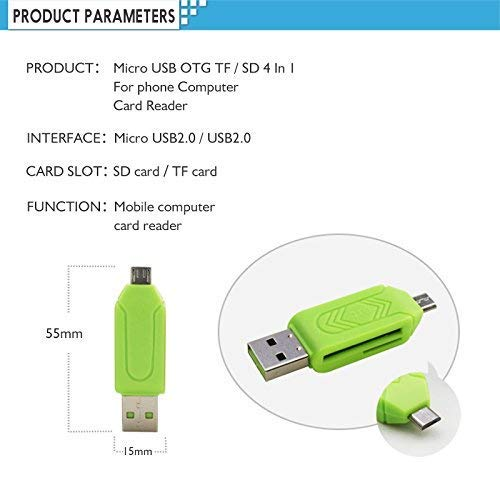 Micro USB SD/TF Card Reader with Micro USB OTG Adapter for Smartphone & Laptops