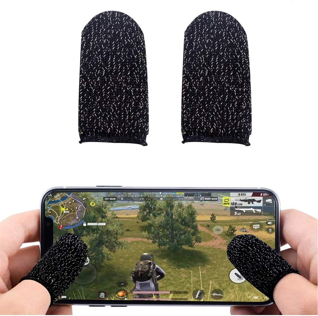 F-302 Gaming Grip Handle with Conductive Triggers for PUBG Mobile with Finger Sleeve Touchscreen Finger Gloves Conductive Fiber Cap Anti-Sweat