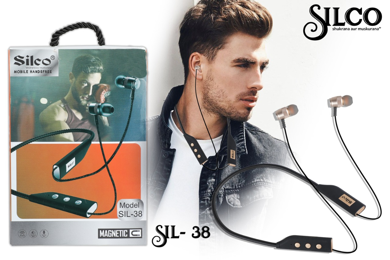 Silco SL 38 Wireless Magnetic Bluetooth Neckband Earphones Headset with Mic (Black)