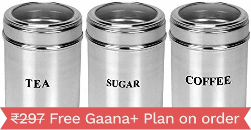 Dynore Stainless Steel Canister Set, Set of 3, Silver (DS_131)