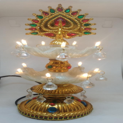 Pilgrimaide Two Layered Beautiful Lamp With Peacock Design (SHKS011)