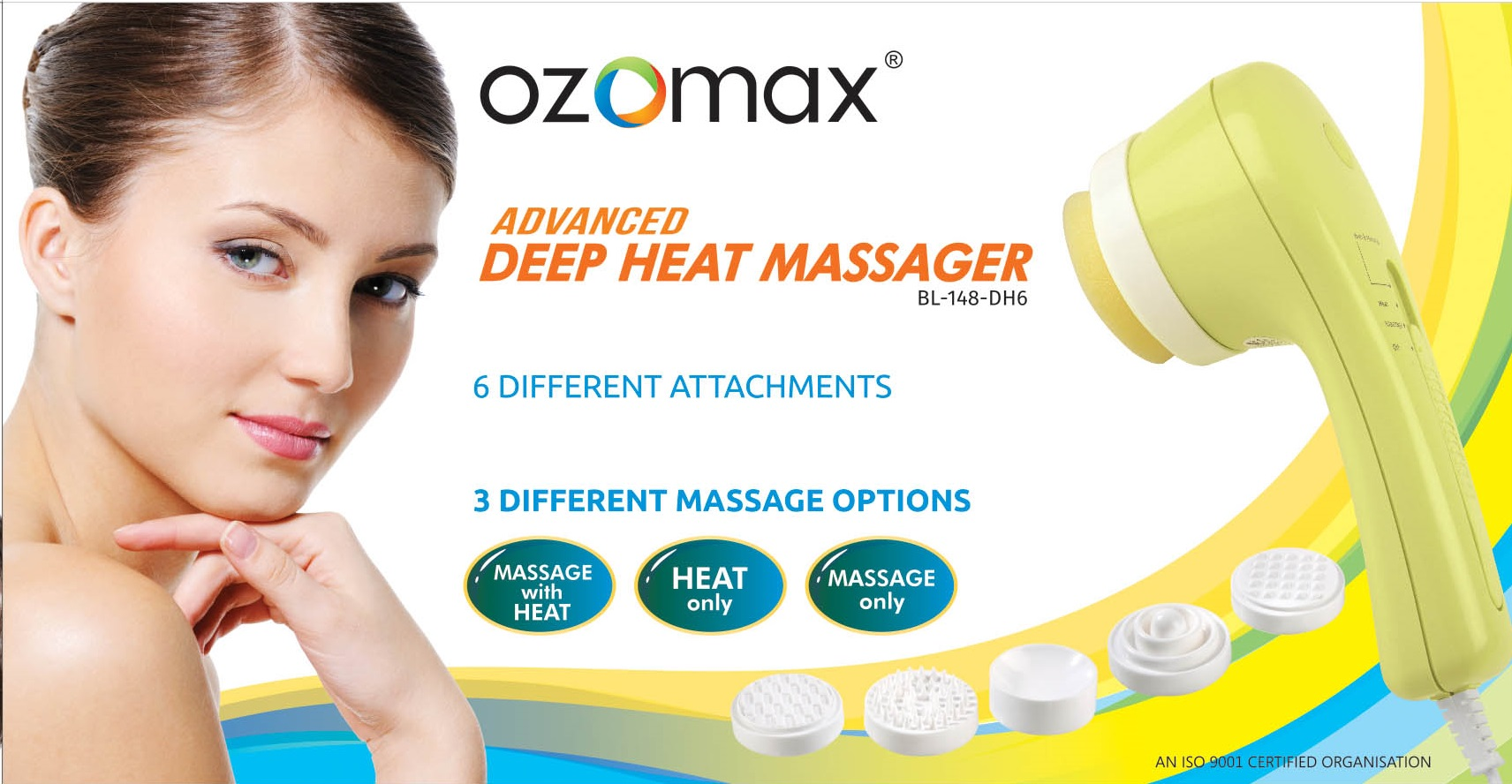 OZOMAX DEEP HEAT MASSAGE APPARATUS WITH 6 ATTACHMENTS