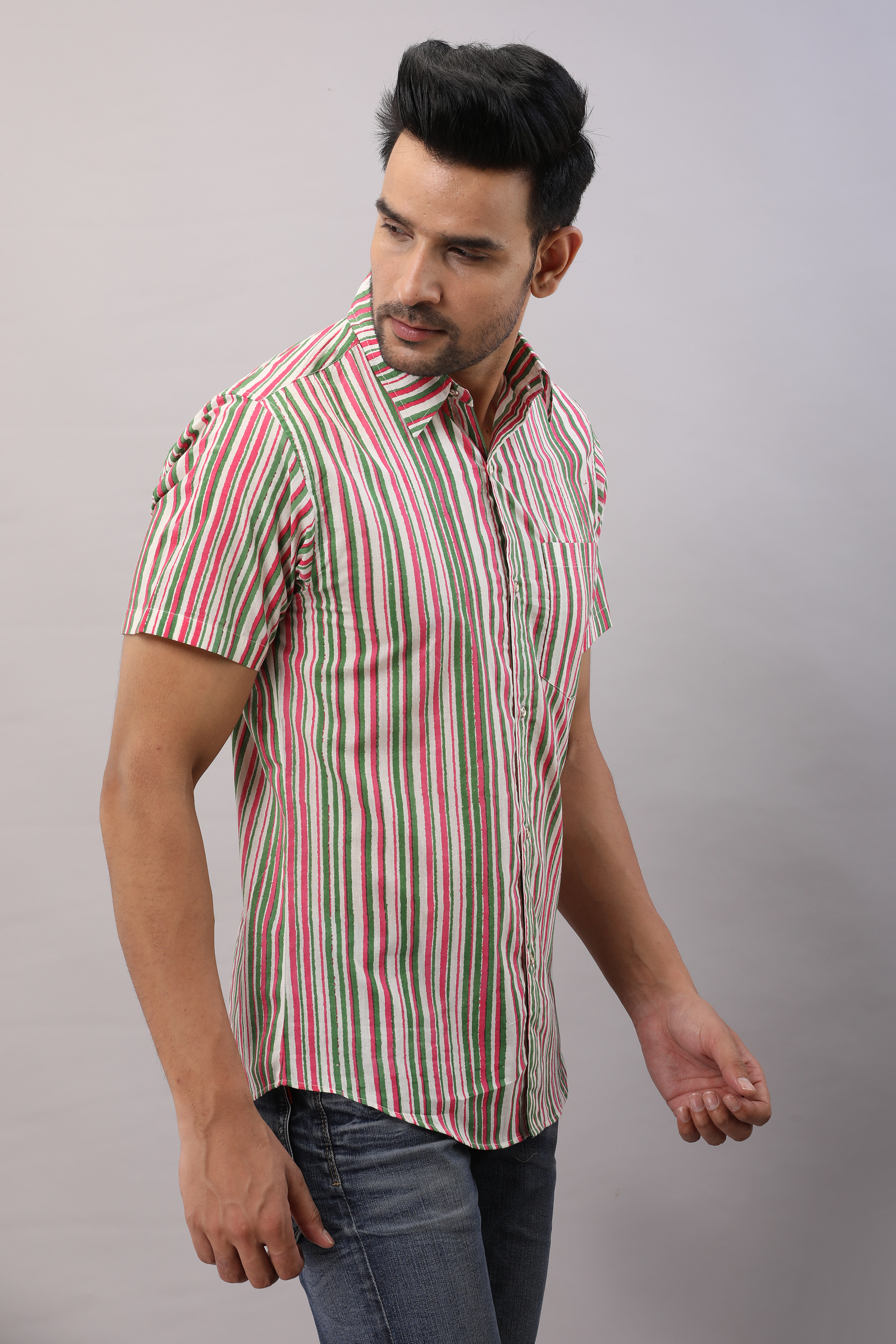 FrionKandy Cotton Striped Casual Multicolored Regular Shirt For Men - L