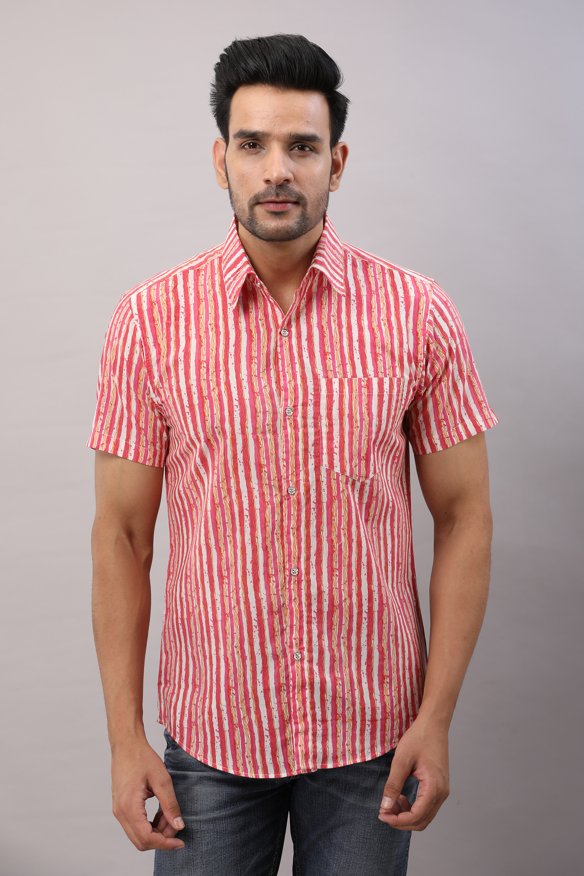 FrionKandy Cotton Striped Casual Pink Regular Shirt For Men - L
