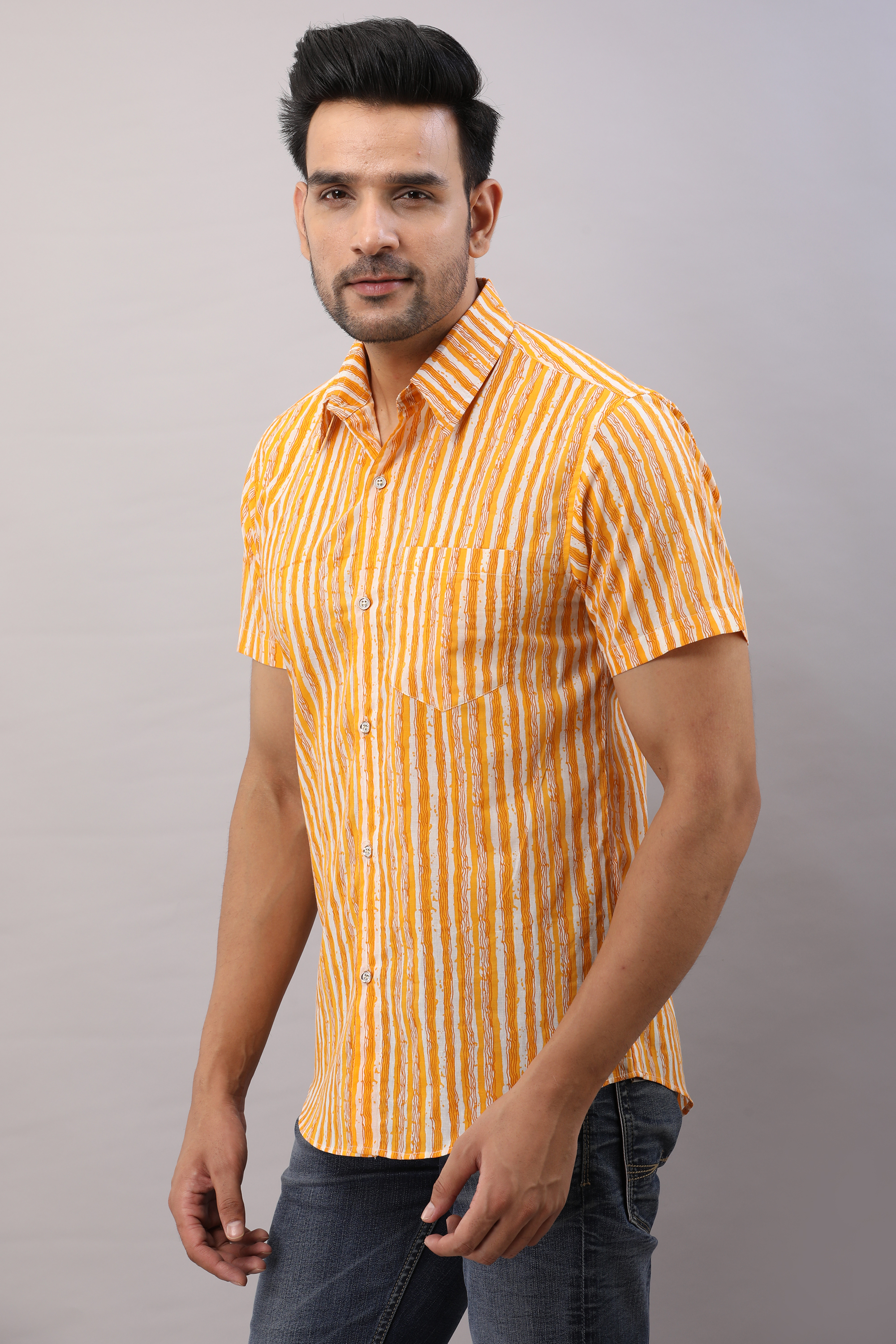 FrionKandy Cotton Striped Casual Yellow Regular Shirt For Men - 2XL