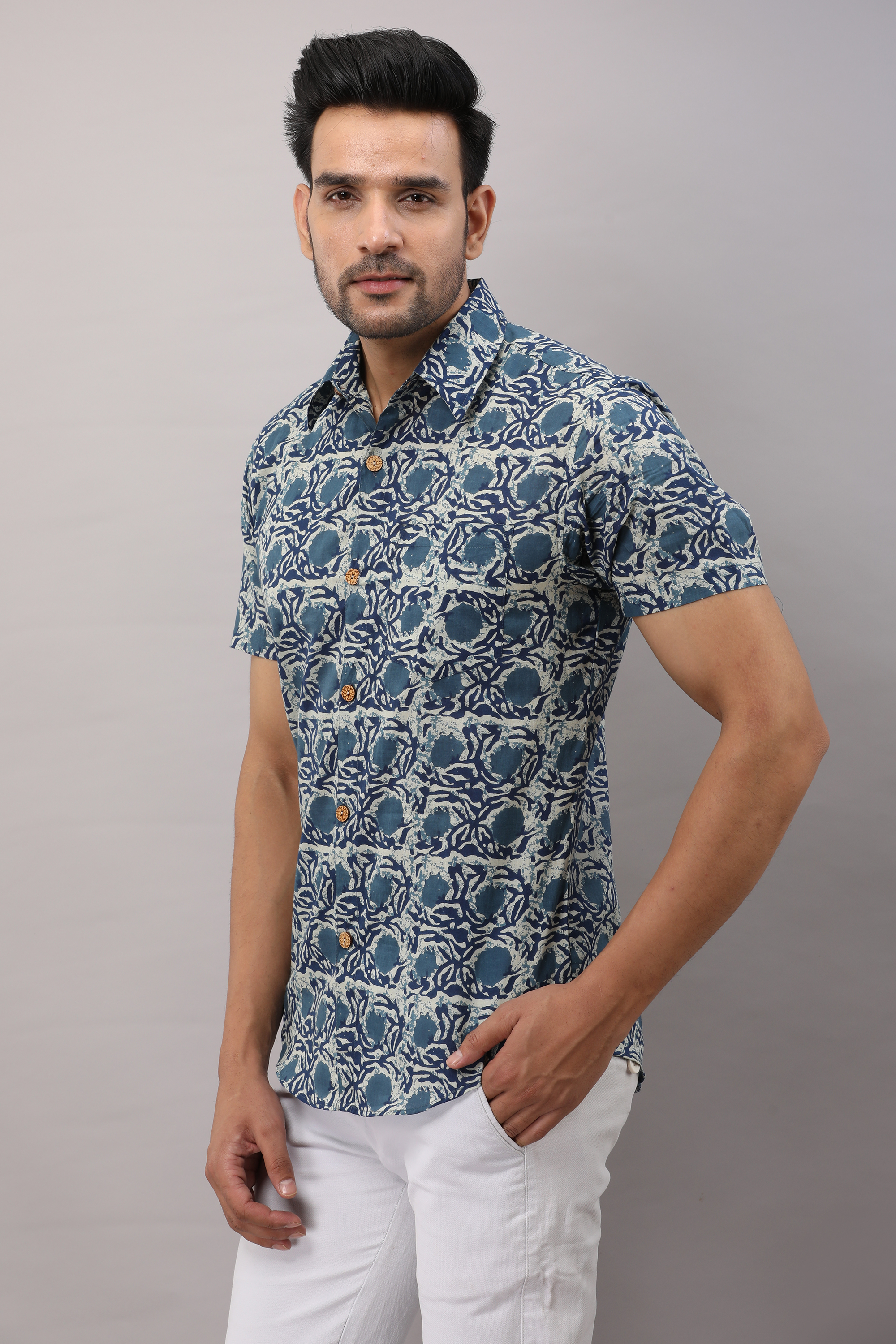 FrionKandy Cotton Floral Casual Blue Regular Shirt For Men - 2XL