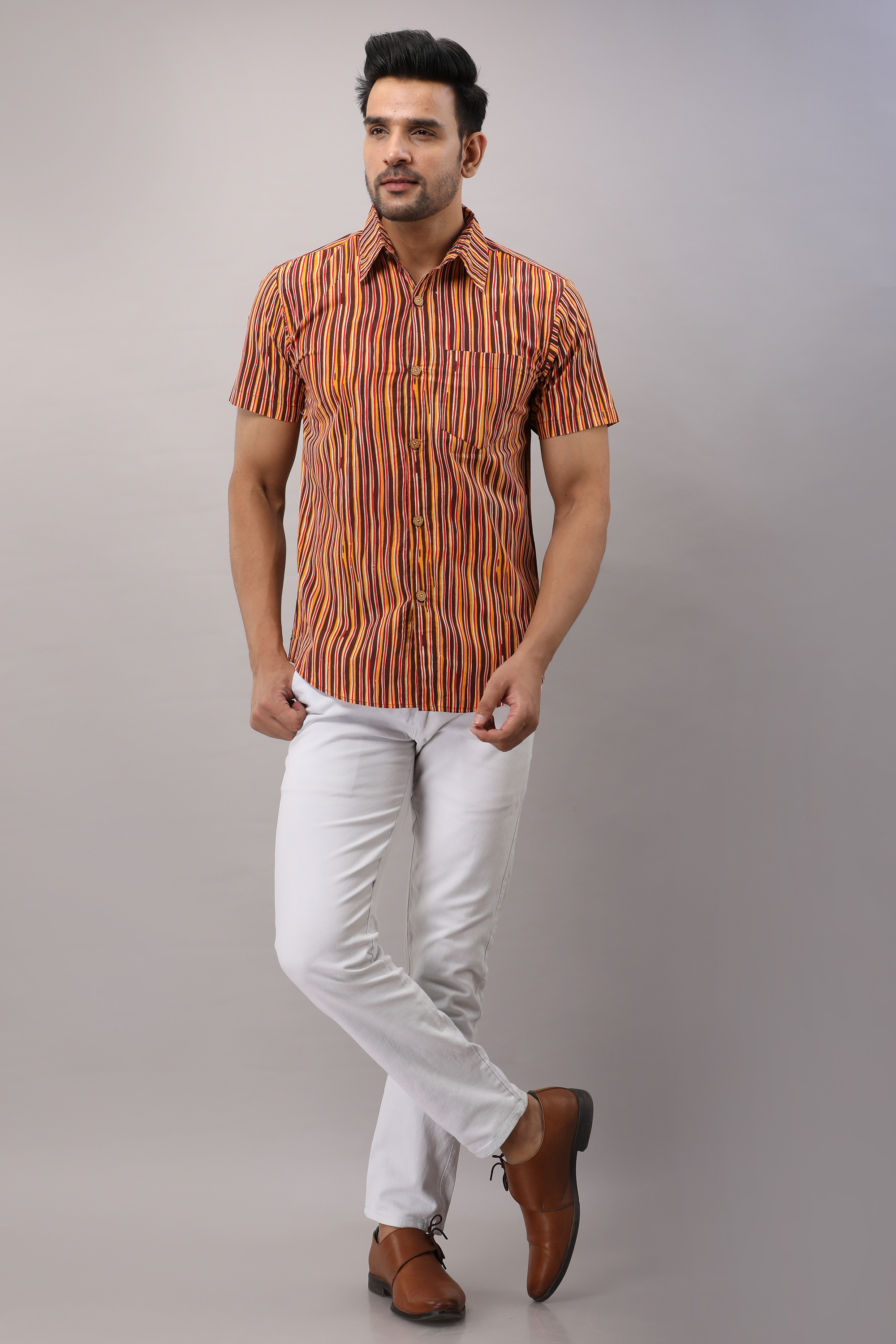 FrionKandy Cotton Striped Casual Multicolored Regular Shirt For Men - M