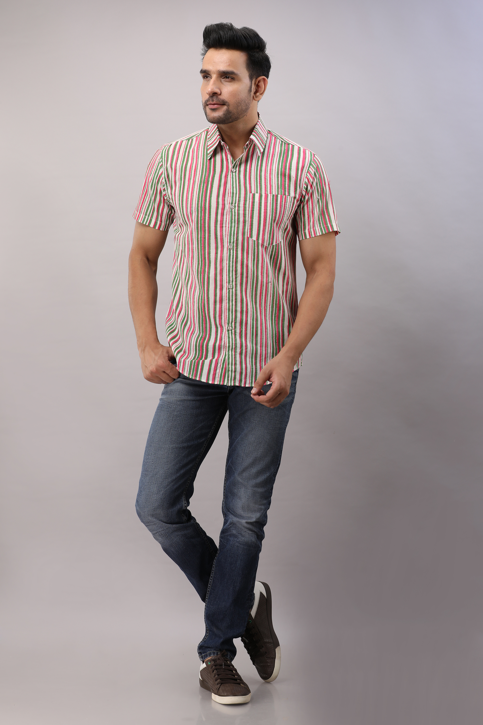 FrionKandy Cotton Striped Casual Multicolored Regular Shirt For Men - 3XL