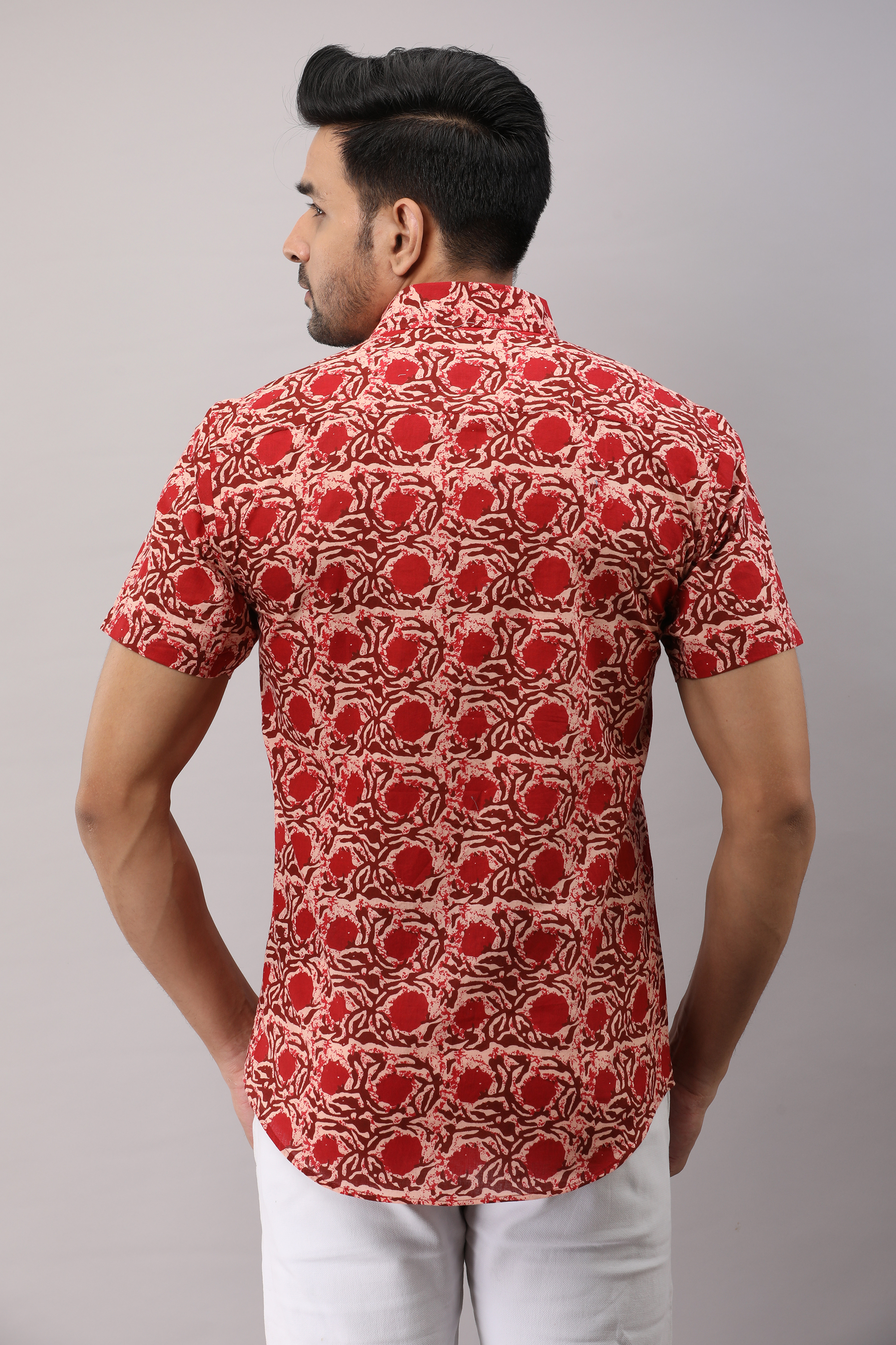 FrionKandy Cotton Floral Casual Red Regular Shirt For Men - M