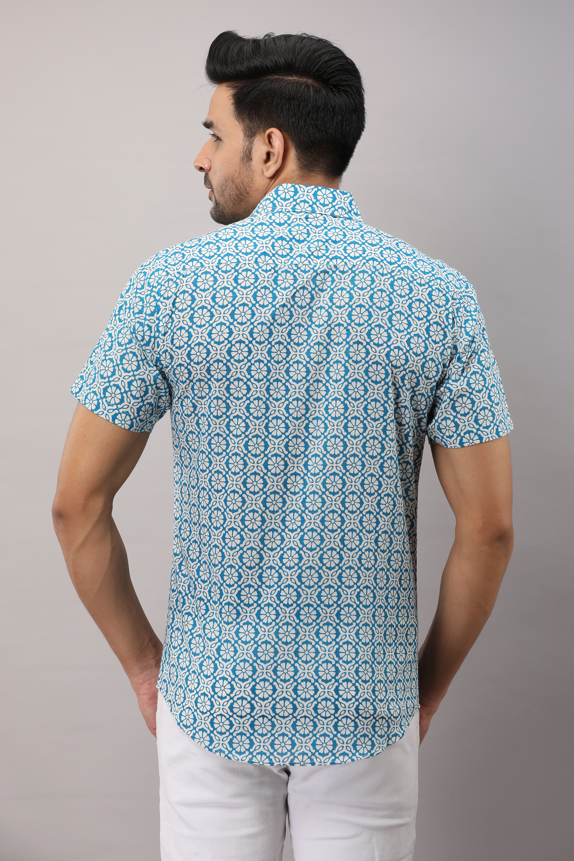 FrionKandy Cotton Printed Casual Light Blue Regular Shirt For Men - XL
