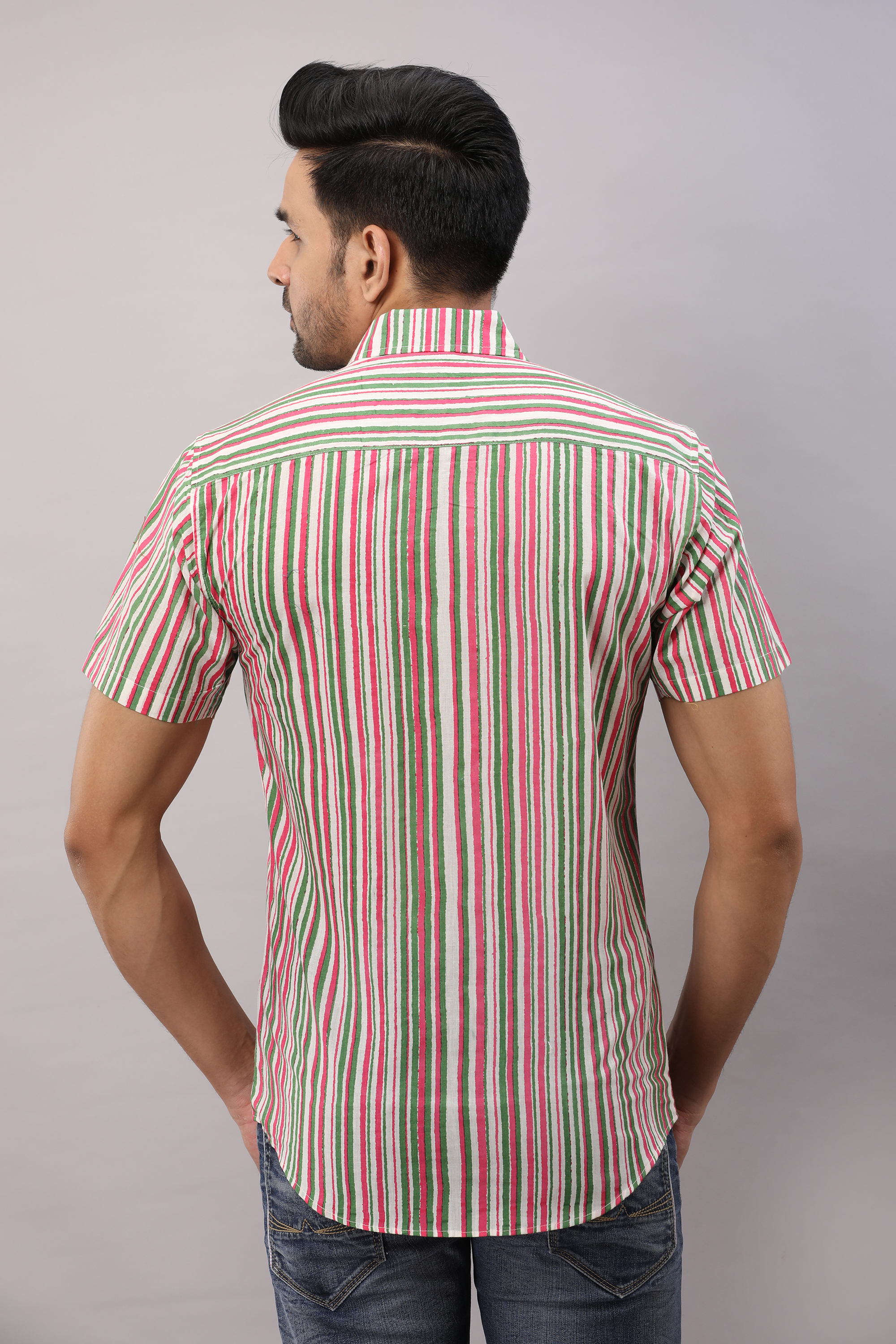 FrionKandy Cotton Striped Casual Multicolored Regular Shirt For Men - XL