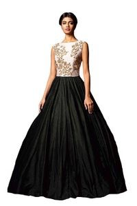 Florence Black Silk Embroidered Semi Stitched Gown