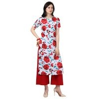 Florence White and Red Crepe Printed Stitched Kurta Palazzo Set