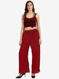 Florence Red Crepe Crochet Stitched Palazzo
