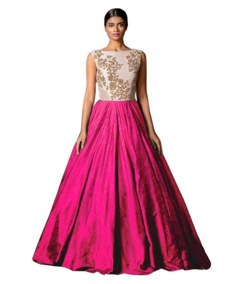 Florence Pink Silk Embroidered Semi Stitched Gown