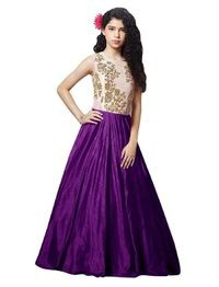 Florence Purple Silk Embroidered Semi Stitched Gown