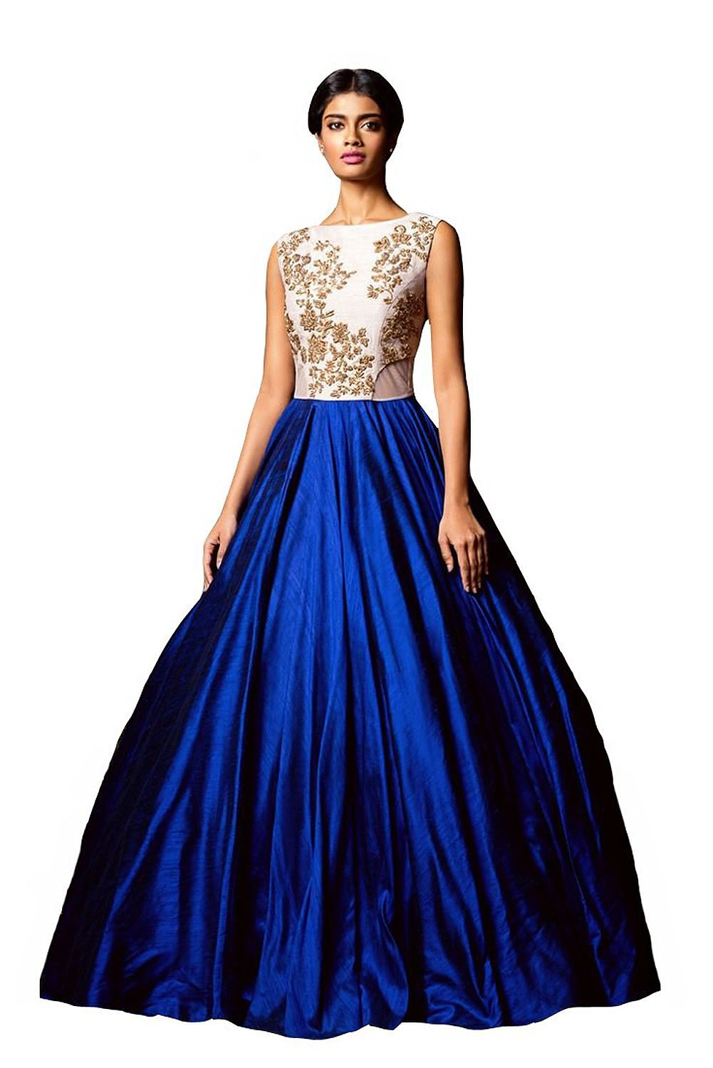 Florence Blue Silk Embroidered Semi Stitched Gown