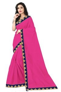 Florence Pink Art Silk Lace Work Saree with Blouse