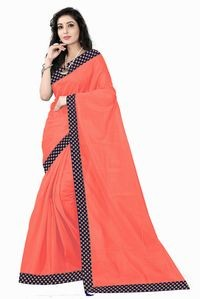 Florence Peach Art Silk Lace Work Saree with Blouse
