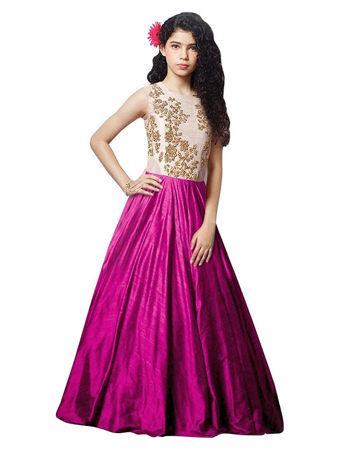 Florence Dark Pink Silk Embroidered Semi Stitched Gown