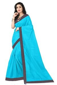 Florence Sky Blue Art Silk Lace Work Saree with Blouse