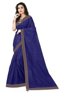 Florence Dark Blue Art Silk Lace Work Saree with Blouse
