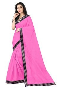 Florence Light Pink Art Silk Lace Work Saree with Blouse