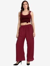 Florence Maroon Crepe Crochet Stitched Palazzo