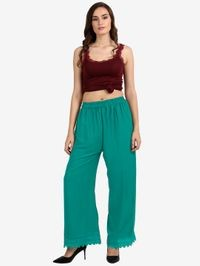 Florence Teal Crepe Crochet Stitched Palazzo