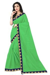 Florence Light Green Art Silk Lace Work Saree with Blouse