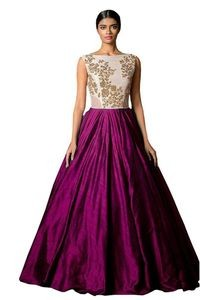 Florence Magenta Silk Embroidered Semi Stitched Gown